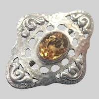 Arts and Crafts Hammered Silver Citrine Pin