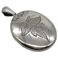 Victorian Sterling Silver Leaf Engraved Locket