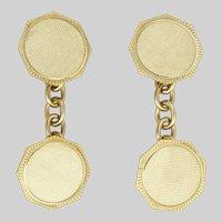 English 9K Gold Two Tone Deco Style Cufflinks