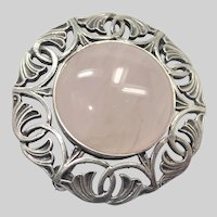 English Sterling Silver and Rose Quartz Pin