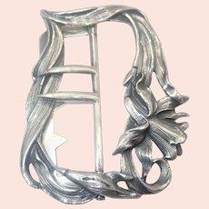 German Art Nouveau '800' Silver Daffodil Belt Buckle - Martin Mayer