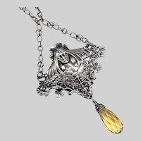 European Art Nouveau Silver Lady Necklace with Citrine Drop