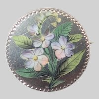 Victorian Silver Enamel Painted Flowers and Leaves