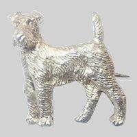 Cute English Sterling Silver Dog Pin