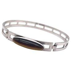 Finnish 813 Silver and Tiger's Eye Modernist Bangle Bracelet