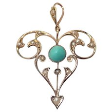 English Art Nouveau 9K Gold Turquoise and Pearl Pendant
