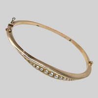 Victorian 15K Gold and Pearl Bangle