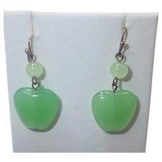 Fun Green Glass Apple Earrings for Pierced Ears