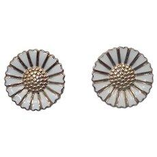 Bernhard Hertz - Denmark- Silver Enamel Daisy Clip earrings