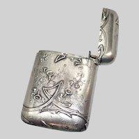 French Art Nouveau Silver Morning Glory Vesta or Match Holder