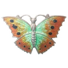 English Art Deco Silver Enamel Butterfly Pin