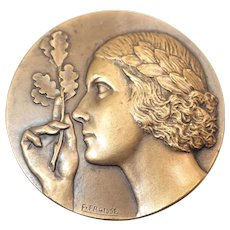 French Art Deco Bronze Lady and Oak Leaves Medal - F Fraisse