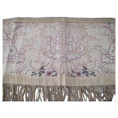 Antique French 19th Century Church Altar Banner/Pelmet/Tapestry w/ Metallic Thread and Roses
