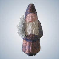 Rare Antique German Belsnickle Santa Claus Christmas Doll Figure Dark Purple