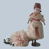 Antique All Original German Papier Mache and Wood Doll 8""