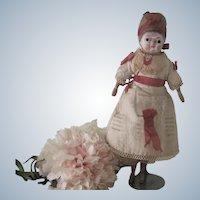 "Antique All Original German Papier Mache and Wood Doll 8"""