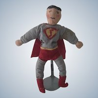 Vintage Hand Sewn Cloth Superman Doll c1930's