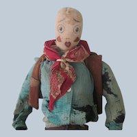 Vintage Hand Sewn Cloth Cowboy Doll c1920's-30's