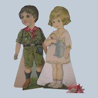 Old Vintage 1920's Large Paper Dolls