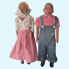 Vintage Hand Carved Folk Art Kentucky Poppet Doll Pair c1930