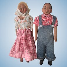 Vintage Hand Carved Folk Art Kentucky Poppet Doll Pair c1930