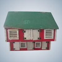 Old Vintage Handmade Chicken Coop Dollhouse Toy c1930