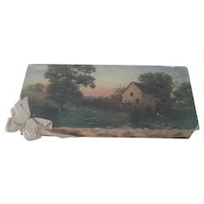 Old Large Chocolate Candy Valentine's Advertising Box with Country Scene c1910