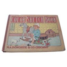 Old Edwardian Children's Color Sketch Book c1908