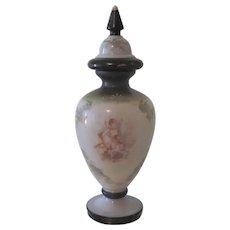 Antique French Hand Painted Opaline Glass Urn Vase W/ Cherubs Angels C1880