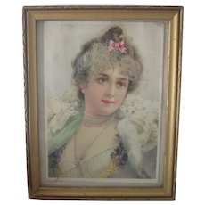 Old Victorian Framed Romantic Print of a Lady