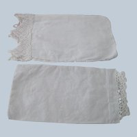 Old Victorian Pair of Cotton and Lace Doll Pillowcases c1900