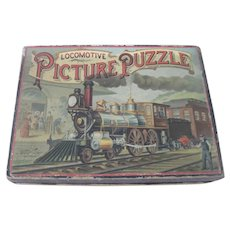 Antique Locomotive Train Picture Puzzle Toy McLoughlin Brothers c1887