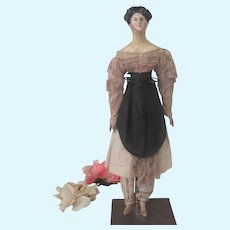 """Antique Early Wooden Milliner's Model 15"""" Doll C1820 - 30 with Unique Hairdo"""
