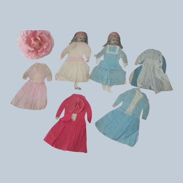 Old Victorian Handmade Twin Paper Doll Set with Six Outfits