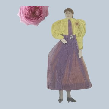 Old Victorian Handmade Paper Doll of Woman
