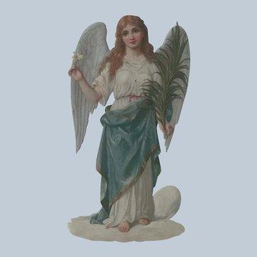 Old Victorian Embossed Die Cut Easter Angel  c1900