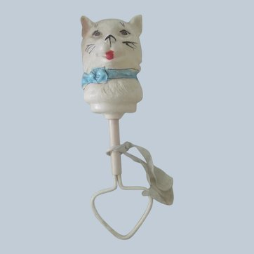 Old Celluloid Baby Doll Rattle of a Cat c1920