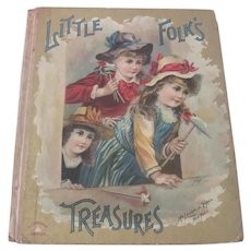 "Old Victorian Children's Book ""Little Folks Treasures"" Doll c1890"