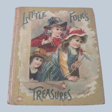 "Old Victorian Children's Book ""Little Folks Treasures"" Doll c1890"