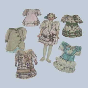 Vintage 1920's Little Girl Paper Doll Set