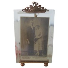 "Antique French Beveled Glass and Ormolu Picture Photo Frame 4 1/4"" x 2 3/4"""