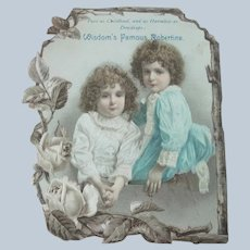 Old Victorian Advertising Card for Beauty Cream with Little Girls