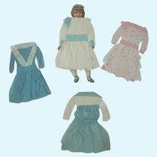 Old Victorian Paper Doll with Four Handmade Outfits