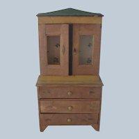 Antique Large Primitive Doll Cabinet