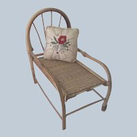 Antique Bamboo Doll Chaise Lounge c1915