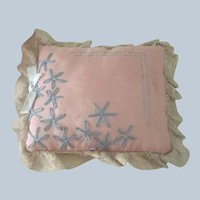 Vintage Floral Embroidered Doll Cushion Sachet Pin Cushion c1920's