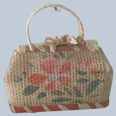 Old Straw Doll Miniature Travel Bag