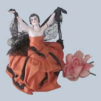 Antique German Porcelain Half Doll Pincushion Dressel and Kister