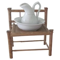 Antique Victorian Large Ratan Dollhouse or Doll Washstand with Pitcher and Basin c1910