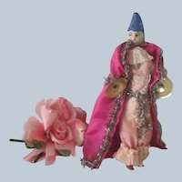 Old Wood and Paper Mache Jester Pierrot Doll c1910